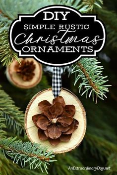 Decorate the tree with unique Christmas ornaments for a simple natural look. This birch slice and pine cone handmade ornament is easy to make with this how to tutorial. Great for gift-giving and package topping too.