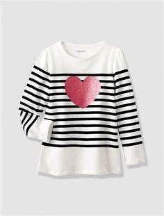 2a0e4ca65e390 Girl s Fisherman-Style T-shirt with Sparkly Print Beige stripe+Pink  stripe+White stripe · EnfantRoseRayures ...