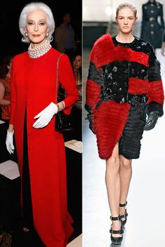 Captivate in your 70s and beyond in regal crimson. Pictured: Carmen Dell'Orefice and Prabal Gurung.