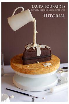 Gravity Defying Chocolate Cake Tutorial on Cake Central