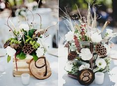 great Fall centerpieces - fresh!! very natural look- woodsy