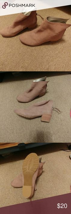 Reaction Booties Tan ankle boots with zippers on the heel. Worn once. These cuties have been hanging out in the closet for a little bit! Size 9.5. Slight residue on the soles from sale stickers. Reaction Kenneth Cole Shoes Ankle Boots & Booties