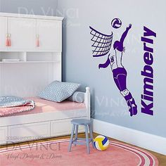Volleyball-Player-Decal-Girl-Custom-Name-Wall-Personalized-Vinyl-Sticker-Decor - girls family room Volleyball Workouts, Volleyball Players, Play Volleyball, Volleyball Ideas, Volleyball Decorations, Volleyball Inspiration, Volleyball Clothes, Volleyball Training, Bedroom Themes