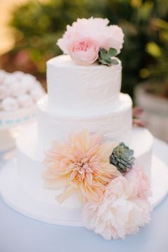 Coral and Blush Pink with Succulent Flowers on Round Three Tier Wedding Cake