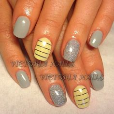 Grey, yellow, striping tape, silver, glitter, accents, stripes,