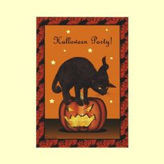 Cat on Pumpkin Halloween Party Invitation (single double sided style) Your party details on the back side! by XG Designs NYC. $1.95 each, pay less if order multiples! #blackcat #halloweenparty #invitation