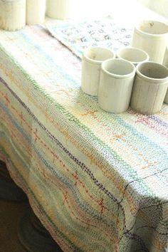 beautiful embroidered table cloth! (too good to use;-) □ Tisane Infusion  ティザーヌインフュージョン