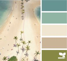 Take a mental vacation in this color palette. Beach colors, seaweed, sand, water and sky.