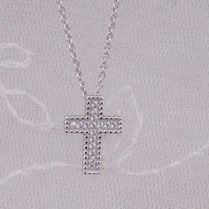 925 Sterling Silver Cross Necklace Small Crystal Cubic Zirconia Jewelry NEW #unbranded #Pendant