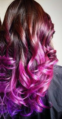 dyed hair Pink purple ombre dip dyed h - haar Purple Hair Highlights, Hair Color Purple, New Hair Colors, Cool Hair Color, Peacock Hair Color, Pastel Ombre, Dyed Hair Pastel, Purple Ombre, Dip Dye Hair