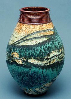 Wheel-thrown Stoneware Flower / Ikebana Vase with Shino and Green Glaze.