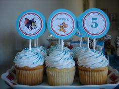 Tom & Jerry Cupcake Toppers. Use sucker sticks, find images and print, use scrapbook paper