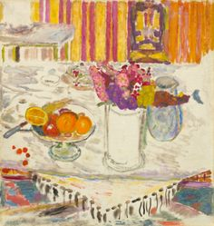 pierre bonnard(1867-1947), the white tablecloth, 1938/1940. oil on canvas, 81.9 x 77.5 cm. national gallery of art, washington, d.c., usa