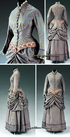 Walking dress, British, ca. 1883. Three pieces—bodice, bustle, skirt. Floral print in red, yellow, green, & white on powder blue cotton, trimmed with lace. Victoria & Albert Museum