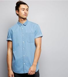 Blue Short Sleeve Denim Shirt  | New Look