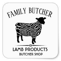 BUTCHER SHOP LAMB FARMER LABEL - craft supplies diy custom design supply special