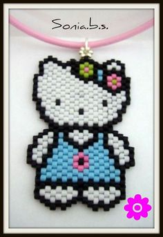 Supeona me to a witness for the dude baby judge Peyote Patterns, Beading Patterns, Seed Bead Jewelry, Beaded Jewelry, Hello Kitty, Motifs Perler, Beaded Banners, Beaded Crafts, Peyote Beading