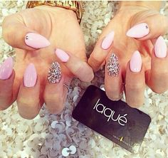 pink nails with Diamond accents