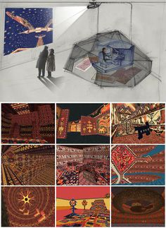 """Mel Chin, """"KNOWMAD"""" (2000), installation sketch and screenshots from video game (via melchin.org)"""