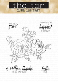 Our Happiest of Peonies clear stamp set features a beautiful cluster of peonies and peony buds. This set is perfect for coloring, watercoloring or as is! 4x6 i
