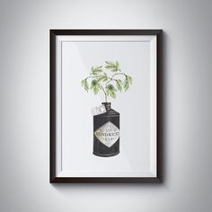 The perfect piece of art for a gin lover! A hand-drawn illustration of a Hendricks Gin bottle printed on beautiful 310gsm Hahnemühle German Etching Paper.
