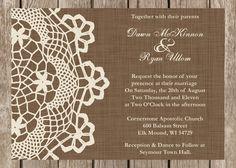 Rustic Doily Wedding Invitation, Vintage Lace Wedding Invitation, customizable. $1.40, via Etsy.
