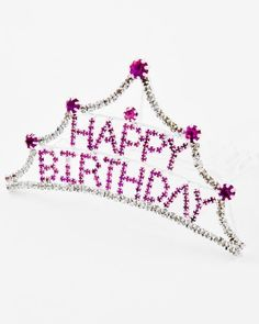 TIARA - HAPPY BIRTHDAY TIARA COMB - SILVER & PINK RHINESTONE HAPPY BIRTHDAY COMB #Tiara