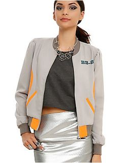 <p>The droid you're looking for is on our exclusive <em>Star Wars</em> bomber style jacket. Grey body with a BB-8 design. Two pockets and front zipper closure.</p>  <ul> 	<li>100% polyester</li> 	<li>Wash cold; dry low</li> 	<li>Imported</li> 	<li>Listed in junior sizes</li> </ul>