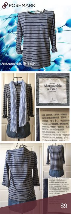 Abercrombie & Fitch Classic Stripes ¾ Sleeves Tee Classic grey & navy striped tee with rolled 3/4 sleeves in great condition. 60% cotton & 40% polyester Abercrombie & Fitch Tops Tees - Short Sleeve