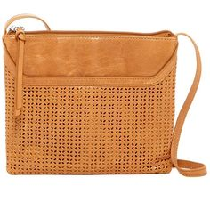 Hobo Liza Laser Cut Leather Crossbody ($65) ❤ liked on Polyvore featuring bags, handbags, shoulder bags, perforated caramel, hobo purses, leather cross body handbags, hobo handbags, leather crossbody and leather crossbody handbags
