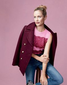J.Crew women's majesty peacoat, Jackie sweater shell with lace and lookout high-rise jean in Chandler wash.