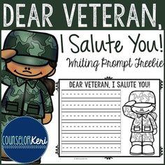 FREEBIE: Veterans Day Writing Prompt - Elementary School - School Counseling - Counselor Keri