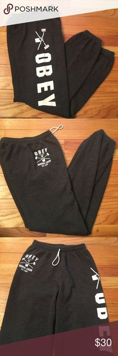 """Obey """"vandal crew"""" sweatpants Grey comfy cuffed ankle and waist sweatpants. Obey graphic with paint can on one leg with """"all city vandal crew"""" on front. Look like new and still soft inside Obey Pants Track Pants & Joggers"""
