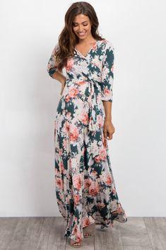 0fdb844fb5685 Green Floral Sash Tie Maternity/Nursing Maxi Dress