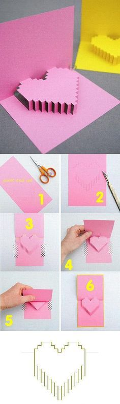 How to make an pop-up 8-bit heart card! Cut the solid lines, do not cut the dotted lines. Use and exacto-knife