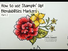 How to use Stampin' Up Blendabilities markers, memento black pad and color lifter marker video, part 1. by Patty Bennett