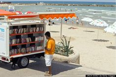 Beachfront Bookmobile in Tel Aviv, Israel