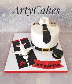 Pilot cake - cake by Arty cakes Airplane Birthday Cakes, Airplane Cakes, First Birthday Crafts, Cake For Boyfriend, Baking Company, Cake Decorating Tips, Cakes For Boys, Cake Creations, Fondant Cakes