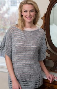 Fit Pullover pattern by J Erin Boland Easy Fit Pullover Free Crochet Pattern from Red Heart YarnsEasy Fit Pullover Free Crochet Pattern from Red Heart Yarns Pull Crochet, Crochet Cardigan, Crochet Shawl, Crochet Sweaters, Crochet Tops, Crochet Jumpers, Simply Crochet, Crotchet, Knitting Patterns Free