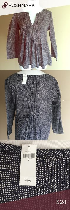 Gap Blouse- Navy Navy with small white dots. Small pleating detail in front and back for extra shape. GAP Tops Blouses