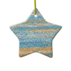 Gold Blue Glitter Abstract Ornaments