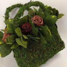 Moss and Floral Handbag Centerpiece