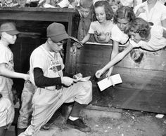 Paul Crawley of Texas signs autographs for girls at the 1952 Little League Baseball World Series. Read more from 'Play Ball! The Story of Little League Baseball.'   | www.PlayBallBook.com