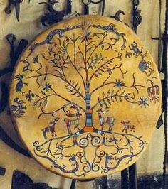 Shaman drum- the world tree frame drum Native Art, Native American Art, Larp, Frame Drum, Traditional Witchcraft, Drums Art, Religion, Medicine Wheel, Mystique