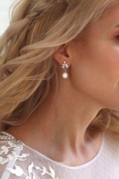 Pearl Earrings Wedding, Pearl Drop Earrings, Crystal Earrings, Silver Earrings, Stud Earrings, Bridesmaid Jewelry, Bridal Jewelry, Ear Climber, Wedding Accessories