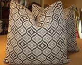 "Schumacher Carbon ""BOHEMIAN RHAPSODY"" French Ogee Custom Down Pillows Pair - 20"" Square - Ralph Lauren Wool Backed"