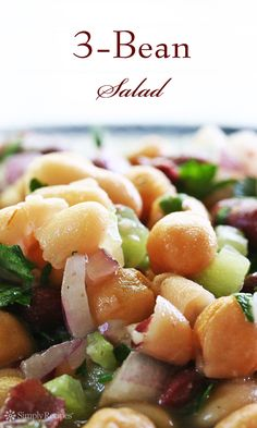 Three Bean Salad ~ Easy 3-bean salad, perfect for summer picnics and potlucks.  With cannellini beans, kidney beans, garbanzo beans, celery, red onion, parsley, and a sweet and sour dressing.#vegan #glutenfree ~ SimplyRecipes.com