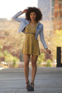 Yellow summer dress and cropped denim jacket with blue Orla Kiely platform heels.   Samio - www.samio.co.uk
