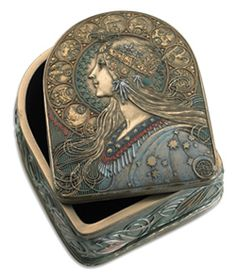 Zodiac Box.    Cold-cast bronze treasure box. The sun is represented by the woman's portrait on the top, surrounded by a circle of astrological symbols in the Alphonse Mucha design.  Lined with felt.  5x4x3.