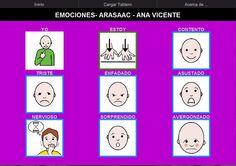 Tablero de comunicación para comunicar y trabajar las emociones.    http://arasaac.org/materiales.php?id_material=913    Descargar AraBoard (versiòn para PC):    http://giga.cps.unizar.es/affectivelab/araboard.html    Descargar AraBoard (versión Android): Play Store.